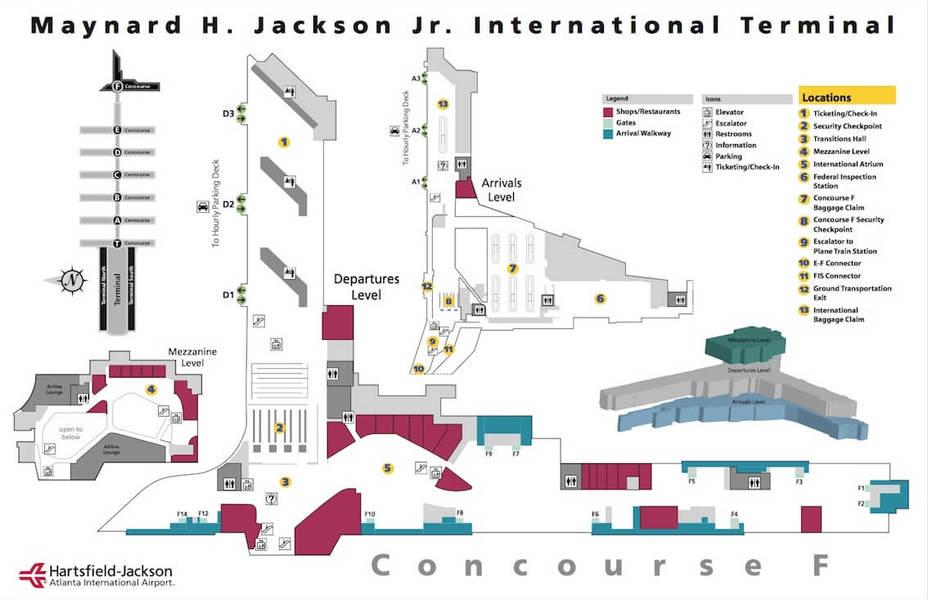 アトランタ空港国際線ターミナル地図の画像