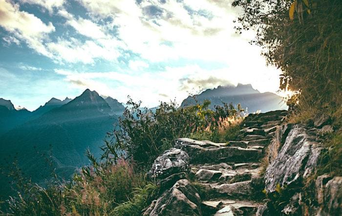 マチュピチュ山への登山路