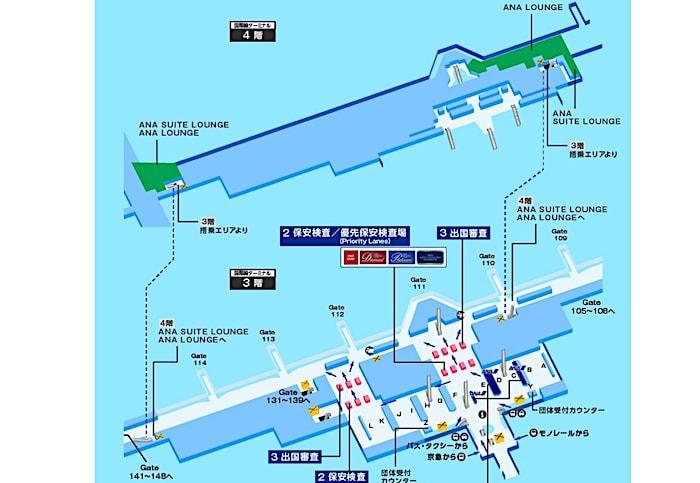 羽田空港のANAラウンジ地図