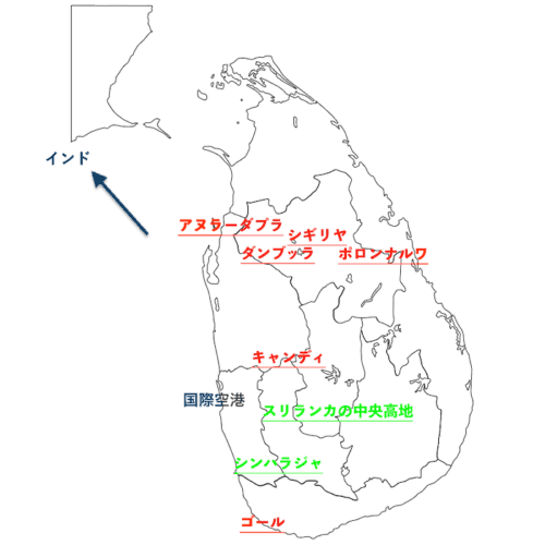 スリランカの世界遺産の地図