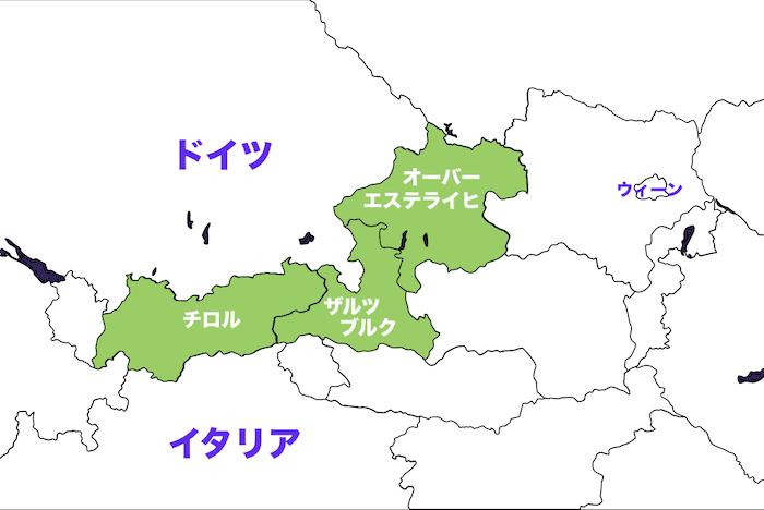 オーストリアの地図画像