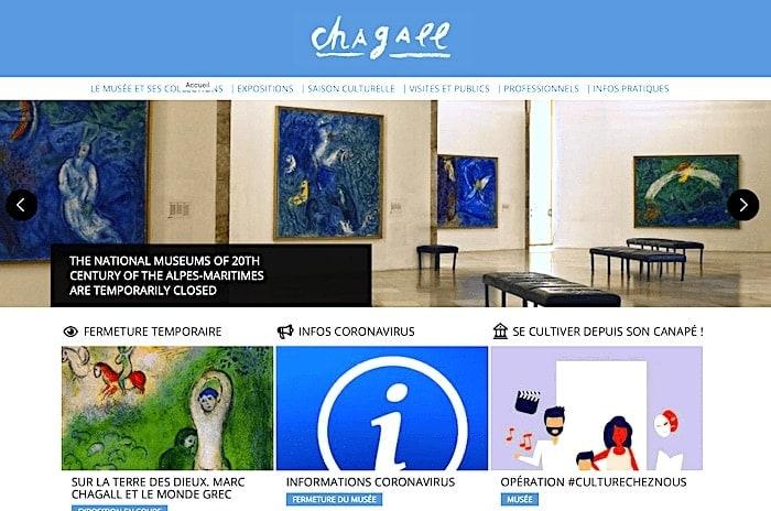 シャガール美術館サイトのトップページの画像