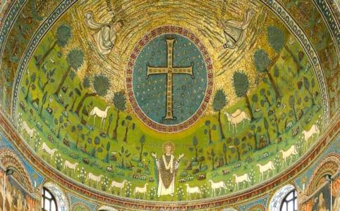 ラヴェンナのサンタポリナーレ・イン・クラッセ聖堂の祭壇画画像